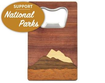 Mountain Wood Bottle Opener |  National Park Foundation Bottle Opener | 20% of Profits Donated to National Park Foundation | Wooden Gifts