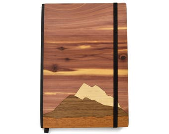National Park Foundation Wood Notebook | Mountain scape Notebook | We Plant a Tree for Every Product Sold | Wooden Charity Gifts