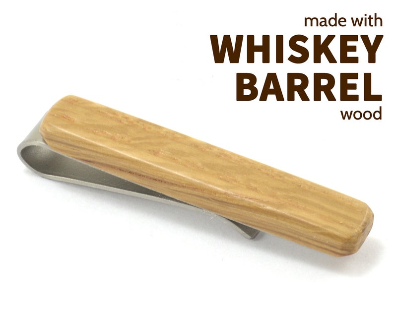 Engraved Jack Daniel\u2019s Tie Clip Jim Beam or Maker\u2019s Mark wooden tie bars Whiskey Barrel Wood Tie Clips Whiskey Gifts for Him
