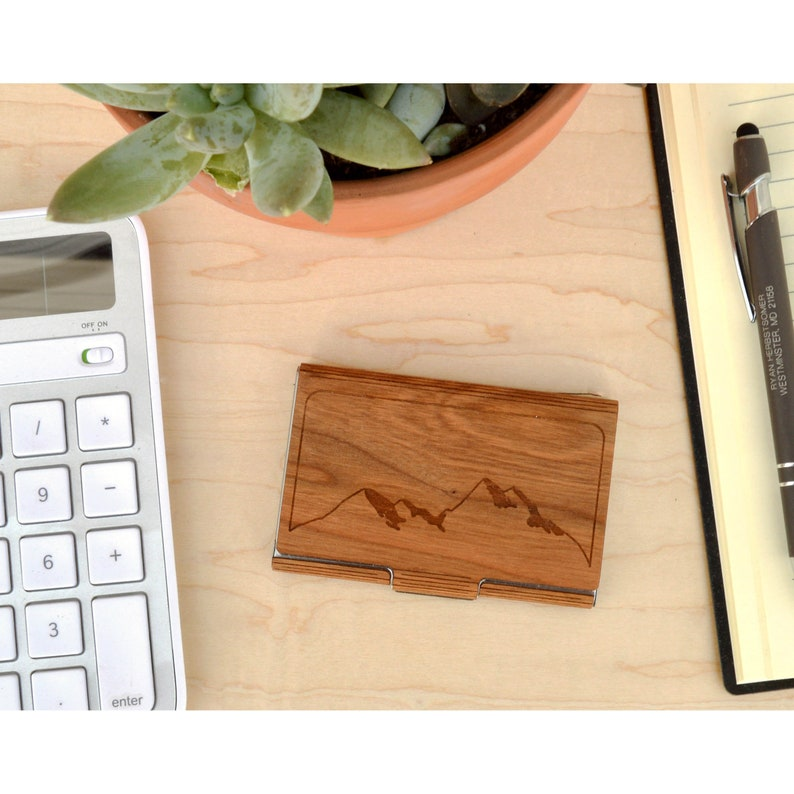 Card Holder Autumn Woods Co Mountain Business Card Case Made in USA Office and Executive Gifts Case for Business Cards USA Gifts