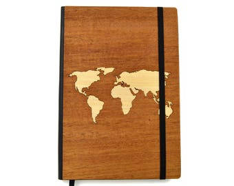 "Wood World Map Notebook | 5"" x 8"" Gifts of Wood  