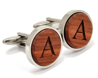 Engraved Cufflinks | Wood Cufflinks w/ Stainless Steel | Executive Cufflinks | High End Gifts for Him | Natural Gifts for Groomsmen