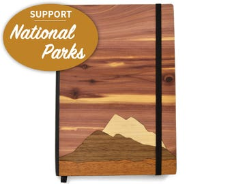 National Park Foundation Wood Notebook | Mountain scape Notebook | 20% of Profits Donated to National Park Foundation | Wooden Charity Gifts