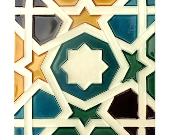 Handmade Hispano Arabe Relief Tiles T34