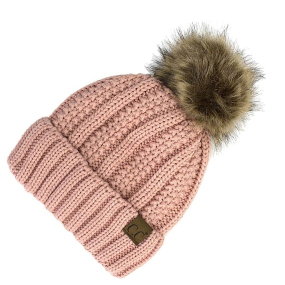 34c8a82d1bb79 CC cable beanie knitted hat with faux fur pom