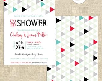 Co-Ed Baby Shower Geometric Triangles Invitation : Black/Aqua/Strawberry