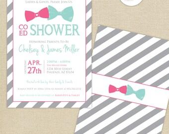Co-Ed Baby Shower Bows and Bowties Stripes Invitation : Aqua/Pink/Gray