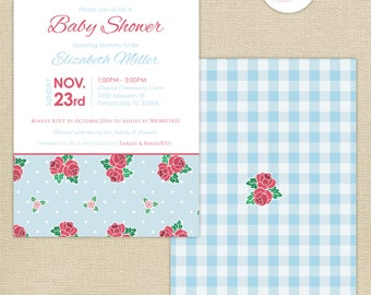 Shabby Chic Roses Baby Shower Invitation : Blue/Pink