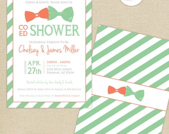 Co-Ed Baby Shower Bows and Bowties Stripes Invitation : Coral/Mint