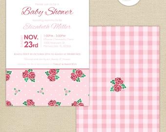 Shabby Chic Roses Baby Shower Invitation : Pink