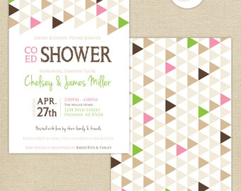 Co-Ed Baby Shower Geometric Triangles Invitation : Brown/Pink/Green