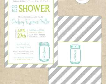Co-Ed Baby Shower Mason Jar and Stripes Invitation : Aqua/Lime/Gray