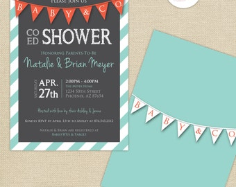 Co-Ed Baby Shower Chalkboard Flags and Stripes Invitation : Gray/Coral/Light Aqua