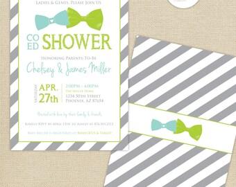 Co-Ed Baby Shower Bows and Bowties Stripes Invitation : Aqua/Lime/Gray