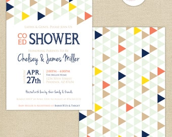Co-Ed Baby Shower Geometric Triangles Invitation : Navy/Coral/Yellow