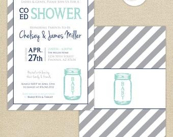 Co-Ed Baby Shower Mason Jar and Stripes Invitation : Aqua/Navy/Gray