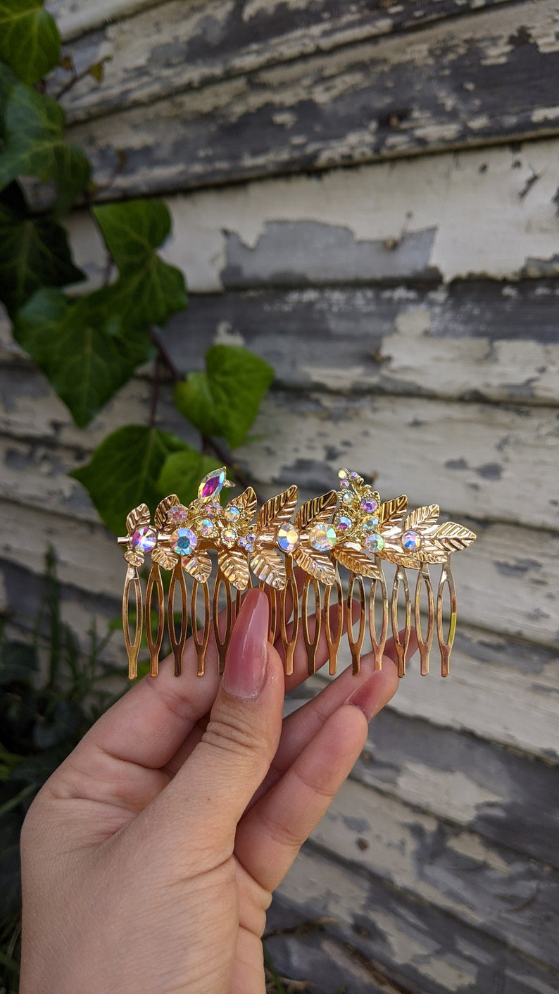 Gold Leaf Comb Ab Jewels Hair Comb by Star Stuff Boutique image 0