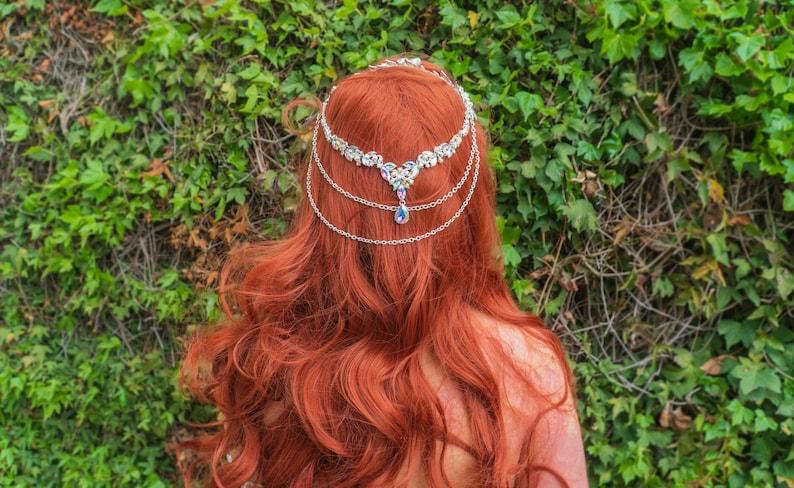 Mermaid Lagoon leaf Chained Headband Mermaid Crown image 0