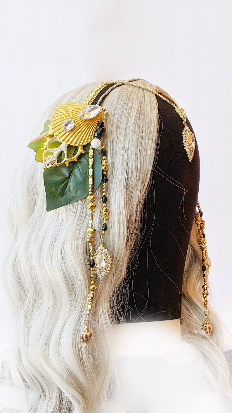 Classic Black and Gold Mermaid Crown Swimmable black and gold image 0