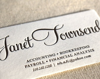 Script business card etsy letterpress business cards calling card custom calligraphy photographer event planner logo script simple affordable gold b102 reheart Images