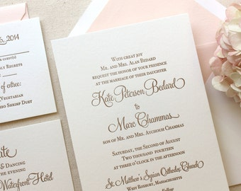 the hydrangea suite classic letterpress wedding invitation sample gold with blush liner pink blush gold formal simple traditional