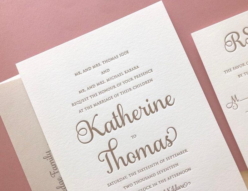 The Katherine Suite Classic Letterpress Wedding Invitation Sample Gold White Formal Elegant Traditional Modern Calligraphy Script