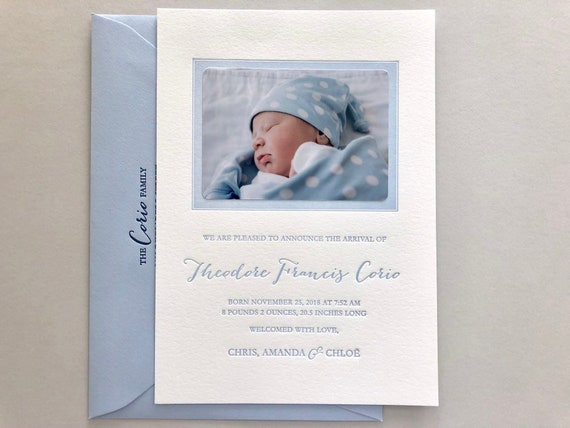 Magical Winter Baby Custom Letterpress Birth Announcements with Photo Spot