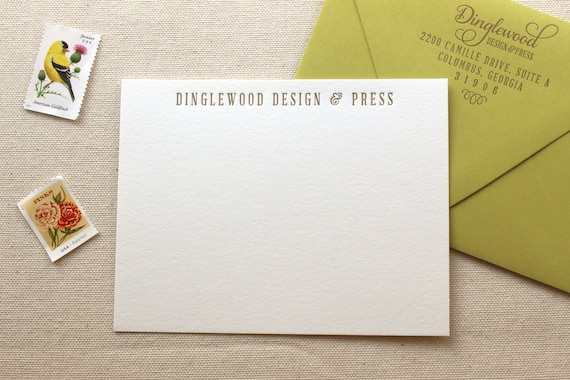 Letterpress Business Note Cards Logo Cards Thank You Etsy