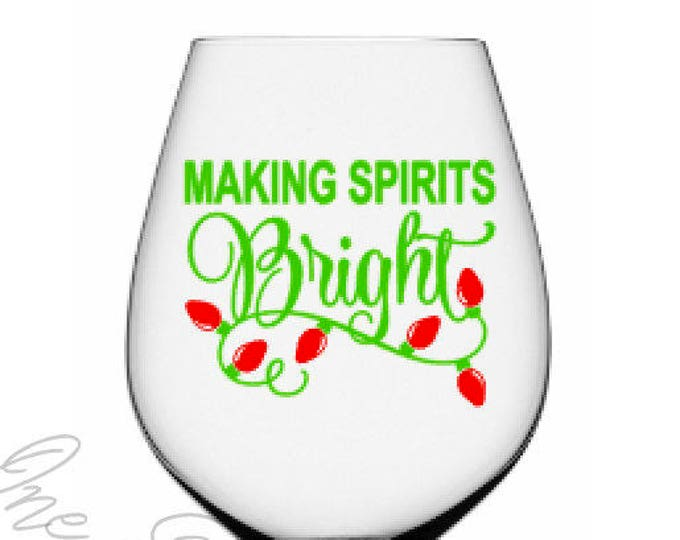 making spirits bright christmas decals diy vinyl decals wine glass mugs tumblers - Christmas Decals For Glass