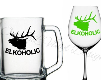 """DIY Decal - ELKOHOLIC"""" - Decal for the Elk Hunter - Vinyl Decal for Beer Mugs, Wine Glasses and more... Glass/Mug NOT Included"""