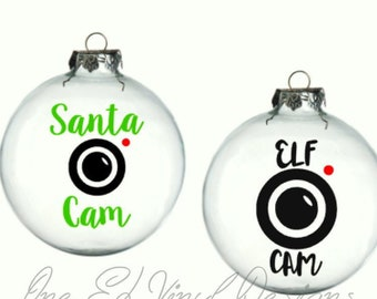 Santa Cam or ELF Cam Decal  - Vinyl Decal for a DIY Christmas Balls / Baubles, Drink ware, Mirrors, and more