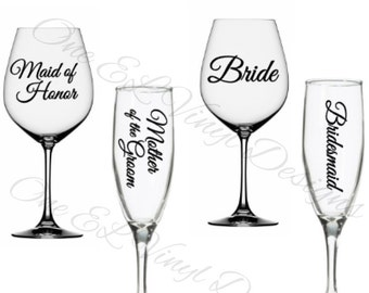 Wedding Party Titles for DIY Glasses - Bridesmaid, Maid of Honour...Vinyl Decal For Champagne, Wine,  Beer Mug, ... Glass Not Included