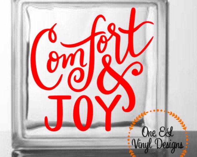 Comfort and Joy - DIY Glass Block Decal - Christmas Decor, Winter, Vinyl Decal for Glass Blocks, Mirrors, Ceramic Ties and more