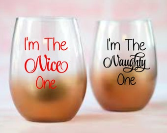 I'm The Nice One/Naught One - 2 Decal Set for DIY Drinkware - Vinyl Decals Wine Glass, Mugs ... Glass NOT Included