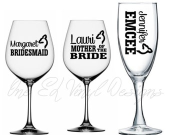 Wedding Party Titles with Names Buck or Doe for DIY Glasses - ... Vinyl Decal For Champagne, Wine, Beer Mug, ... Glass Not Included