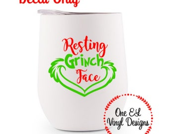 Resting Grinch Face Decal, Christmas Decal, DIY Vinyl Decals Wine Glass, Mugs ... Glass NOT Included