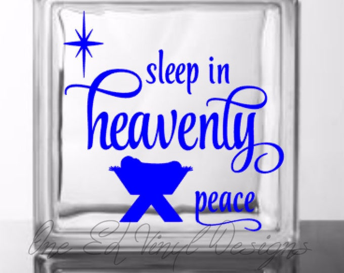 Sleep In Heavenly Peace - DIY Glass Block Decal - Christmas Decor - Vinyl Decal for a DIY Glass Block and more