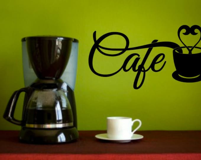 CAFE Wall Decal (Small) - Smaller Sized Vinyl Decal, Kitchen Decal, Home Decor Vinyl Quote, Coffee Cafe Lovers Wall Art.