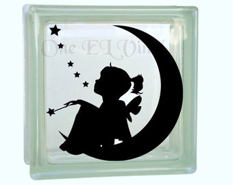 Girl on Moon Stars - Vinyl Decal for a DIY Glass Block, Frames, and more...Block Not Included