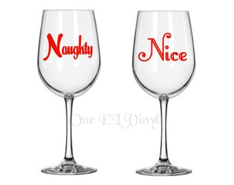 Set of 2 DIY Decals. 1 Naughty Decal and 1 Nice Decal. DIY Decals for Tumblers, Mugs, Wine Glass, and more.