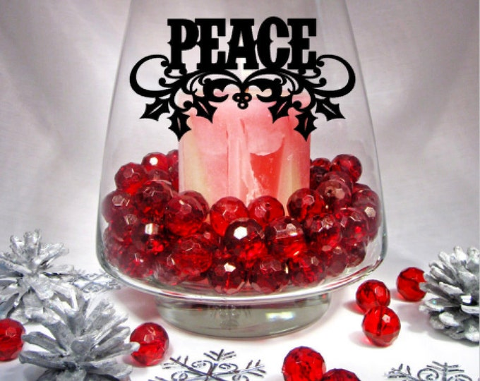 PEACE Christmas Decor Vinyl Decal, Candle holder and Vase not included - Vinyl Decal Only for DIY Candle Holders, Vases, Mirrors, and more.