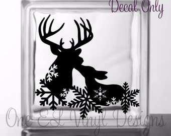 Buck and Doe Snowflakes Winter Scene Deer Decal - Vinyl Decal for a DIY Glass Block, Wood, Tiles, and more...Block Not Included