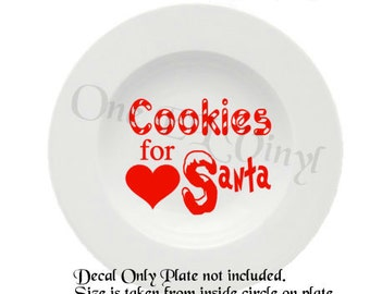 Cookies for Santa - Christmas Plate Decal for DIY Plates, Frames, and more...Plate Not Included