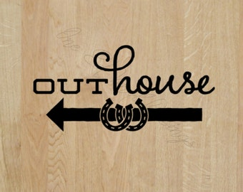 "Outhouse - Left or right Arrow - Wedding Day Fun Decal ""Outhouse"" Decal -Vinyl Decal Wedding Reception"