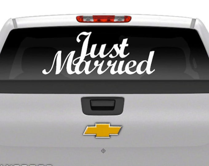 "Wedding Day Decal ""JUST MARRIED"" Vehicle Decal -Vinyl Decal Wedding Day Vehicle"