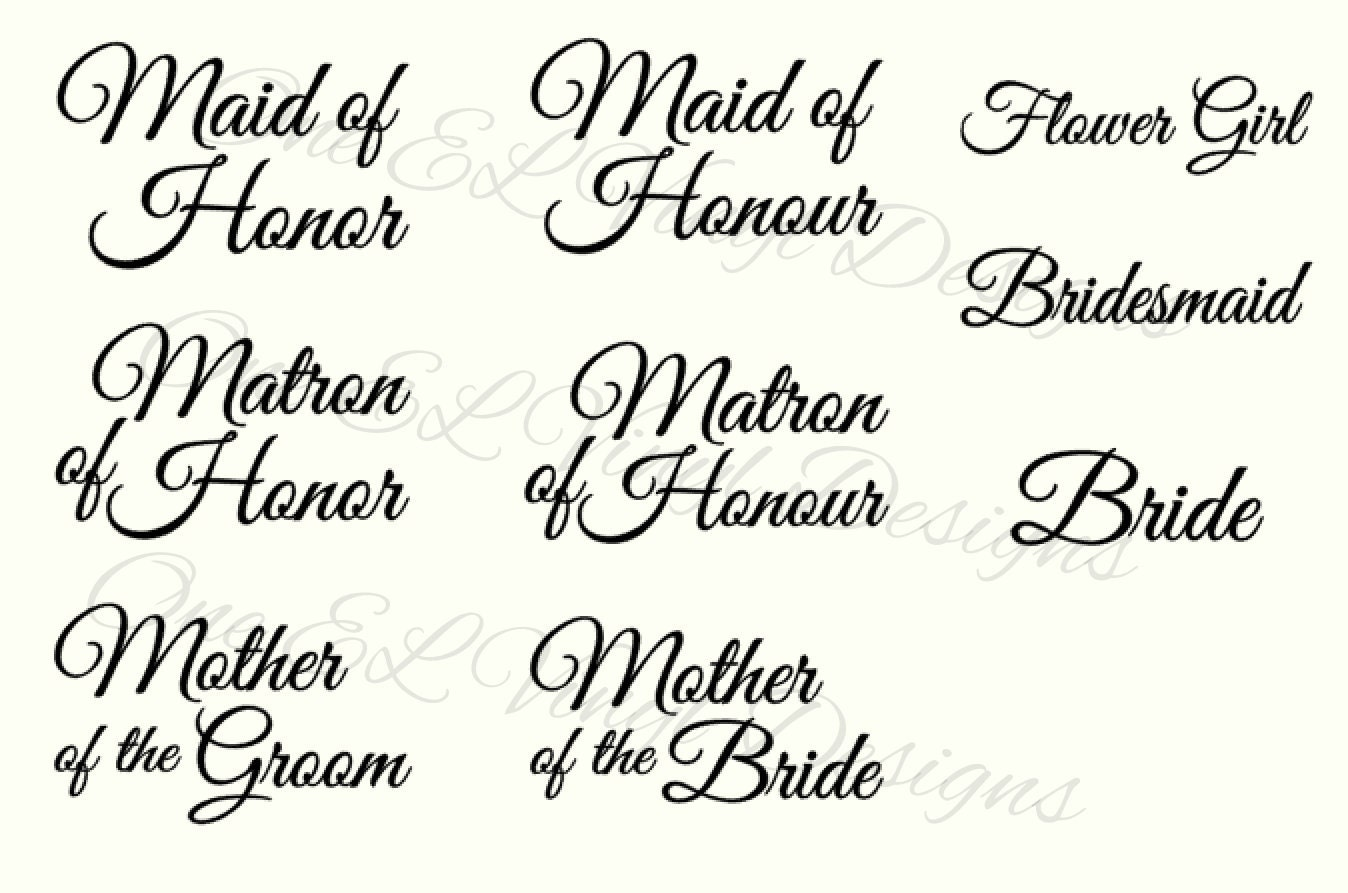 Wedding Party Titles For Diy Glasses Bridesmaid Maid Of Honour