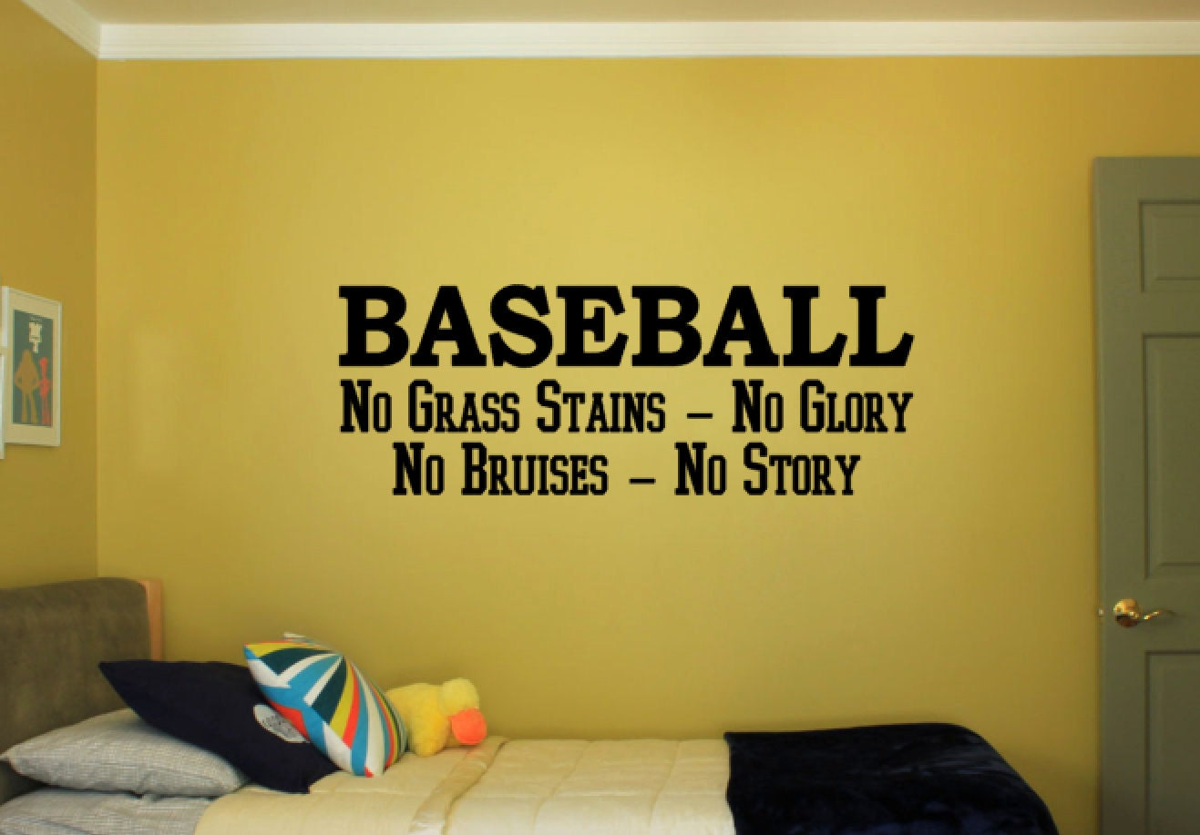 Baseball No Grass Stains No Glory No Bruises No Story - Vinyl Decal ...