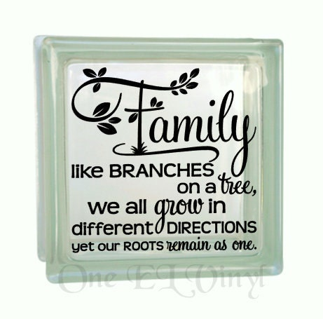 Family like branches on a tree vinyl decal for a diy glass block home decor gifts block not included