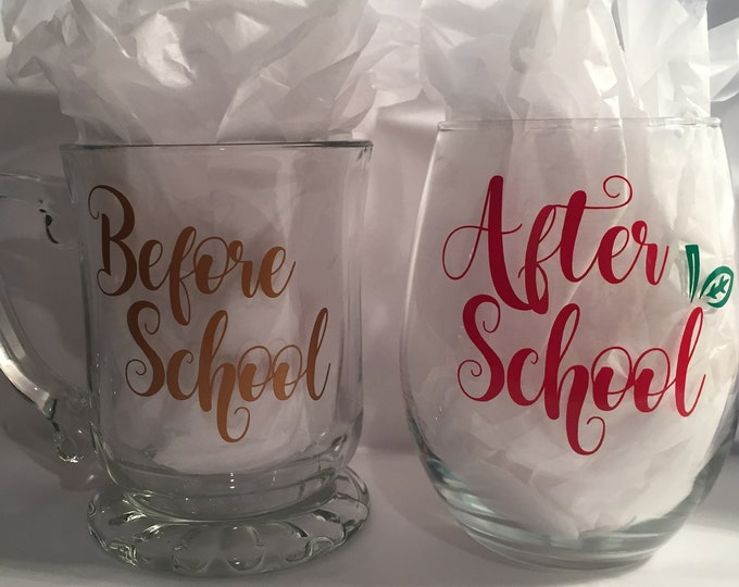 Before School Coffee Mug and After School Wine Glass Set - 18 Oz Stemless Wine Glass, 14 Oz Glass Coffee Mug - Ready to Ship - Teachers Gift