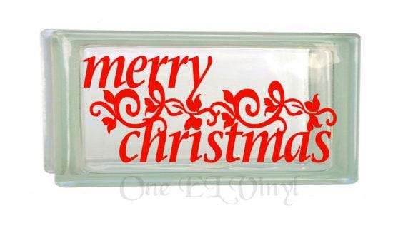 Christmas Vinyl Decals For Glass Blocks.Merry Christmas Christmas Decor Vinyl Decal For A Diy